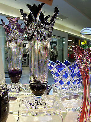 CAESAR CRYSTAL Large Vase Black Cased Cut to Clear Overlay Czech Bohemian SIGNED