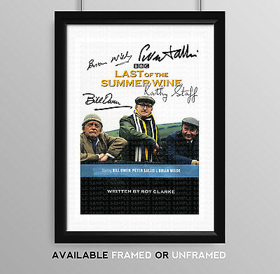 Last Of The Summer Wine Cast Signed Autograph Print Poster Photo Tv Show Series
