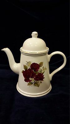 """Vintage Arthur Wood Large Teapot Staffordshire White w/ Roses and Gold Trim 8.5"""""""