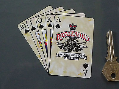 """Royal Enfield Flush Playing Cards Motorcycle STICKER 4"""" Bike Bullet Continental"""