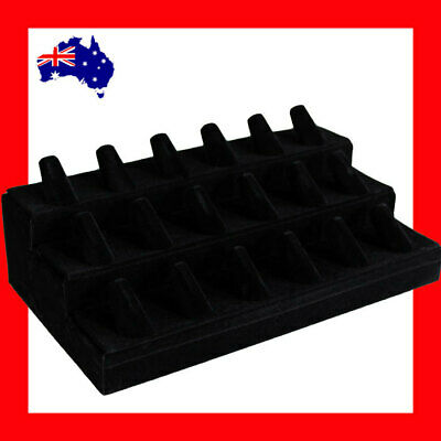 Ring Stand Holder RELIABLE | 3 Tiers | FULL Felt Black Velvet | AUSSIE Seller