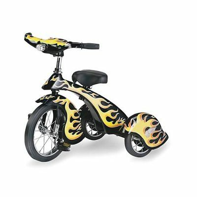 Trike Hot Rod Black with Flames Chrome Headlight Solid Rubber Tires Spring Seat