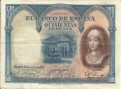 Spain 500 Pesetas 1927  P 73. Vf Condition. 3Rw 03Des
