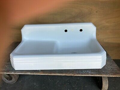 "Antique Cast Iron Porcelain 42"" Art Deco Farm Sink Left Drainboard Vtg 5221-15"