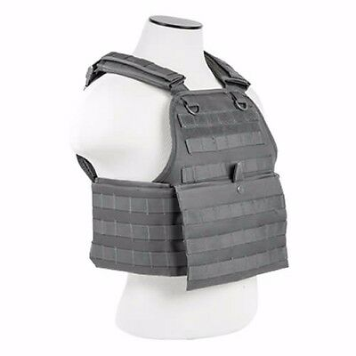 NcStar GRAY Police Military Tactical MOLLE / PALs Adj Plate Carrier Vest