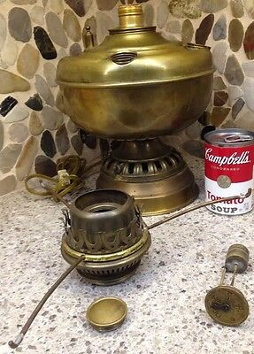 ANTIQUE COUNTRY STORE OIL LAMP FONT Full GAUGE BRASS FINISH Converted