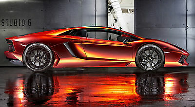"LAMBORGHINI AVENTADOR FLAME ORANGE 24"" x 43""  LARGE HD WALL POSTER PRINT"
