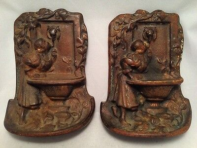 Vintage Bronzed Cast Iron Bookends Young Girl Drinking at Fountain of Knowledge