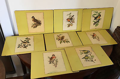 Vintage Lady Clare Made in England Placemats Trivets Yellow Bird Prints Masonite