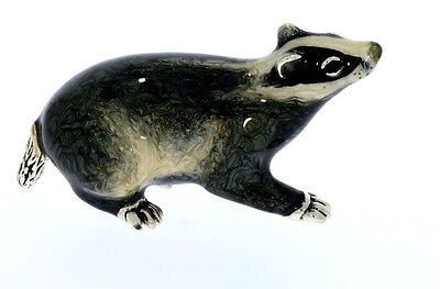 Sterling Silver & Enamel Large Badger by Saturno