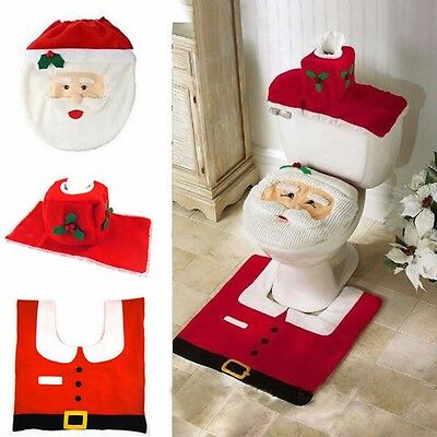 Christmas Decorations  Happy Santa Toilet Seat Cover and Rug Bathroom Set