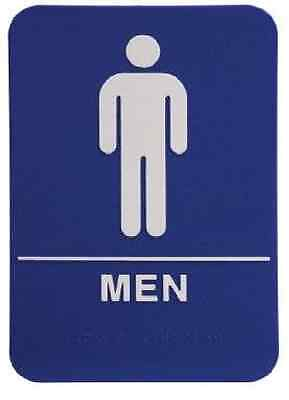 Ada Restroom Sign Men Only Braille Blue Public Bathroom