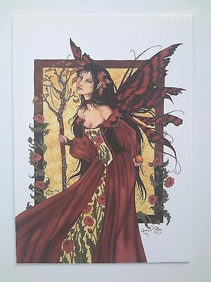 RED ROSE BUTTERFLY Forest Faerie FAIRY POSTCARD ART PRINT BY AMY BROWN