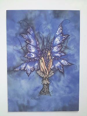 BLUE TOADSTOOL MUSHROOM Butterfly Winged FAIRY POSTCARD ART PRINT BY AMY BROWN