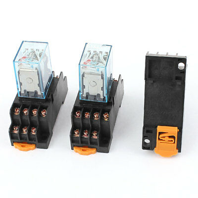 3pcs AC 220/240V Coil 35mm DIN Rail 4PDT Power Electromagnetic Relay w Socket