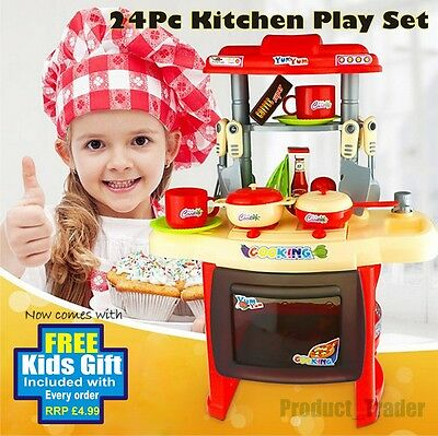 24 Pc Red Electronic Cooking Kids Kitchen Toy Pretend Set Sound & Lights