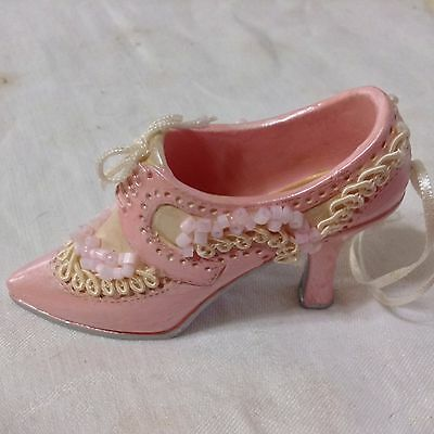 Pink and Cream Beaded and Lace Shoe Ornament