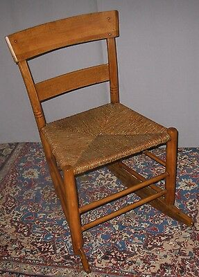 Antique Primitive Hand Crafted Childs Youth Cutter Rocker Rush Seat Ca 1850-1900