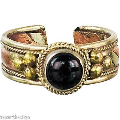 BLACK AGATE RING BRASS & COPPER ADJUSTABLE Wicca Witch Pagan Goth Yoga