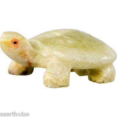 TURTLE SPIRIT ANIMAL CARVING IN GREEN ONYX 22 mm Wicca Witch Pagan Goth TOTEM