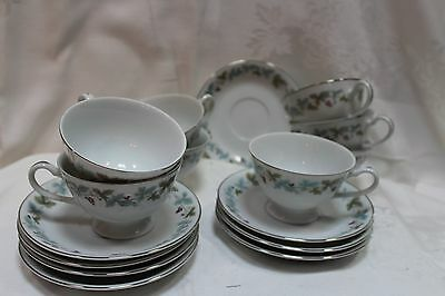 Set For 8 Vintage Fine China Cups And Saucers Grape Vine , Japan 24 Pc