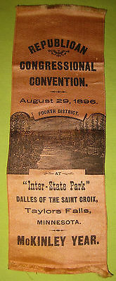 Antique 1896 Republican Congressional Convention Ribbon Taylor Falls MN McKinley