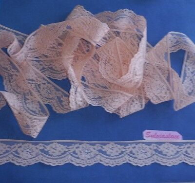 Peach Scalloped Flat Lace  10 m x 35 mm