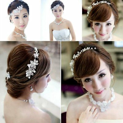 Hot Bridal Wedding Flower Crystal Pearl Headband Hair Jewelry Clip Accessories