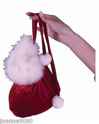 Ladies Santa Claus Christmas Drawstring Fancy Dress Purse Bag Costume Accessory