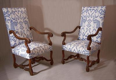 Very fine pair of Louis XIV period French walnut arm chairs circa 1690 to 1720.