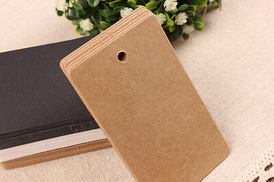 50/100pcs Brown Kraft Gift Tags Wedding Scallop Label Blank Luggage + Strings T2
