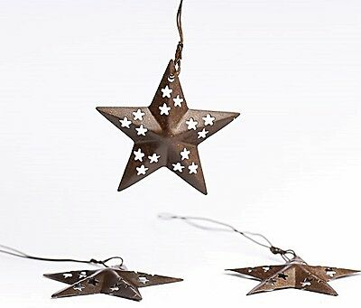 """Primitive 3 piece RUSTIC BARN STAR ORNAMENT with CUTOUT PUNCHED DESIGNS 1.5"""""""