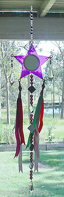 PURPLE PENTACLE BEADS RIBBONS HANGING CRYSTAL Wicca Witch Pagan Goth SUNCATCHER