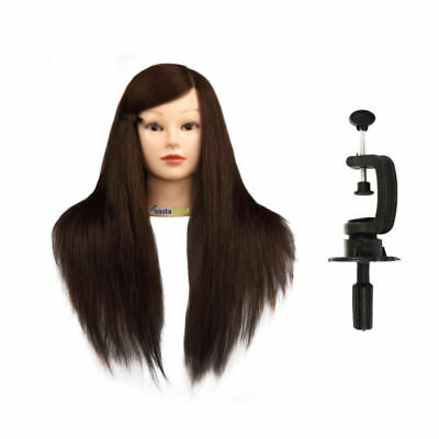 """22"""" 90% Real Hair Training Head Mannequin Hairdressing Makeup Head + Clamp"""