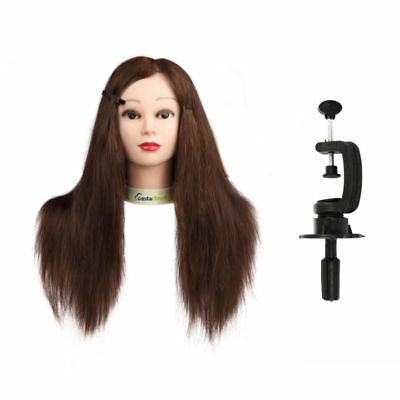"""24"""" 100% Real Hair Training Head Mannequin Hairdressing Makeup Head + Clamp"""
