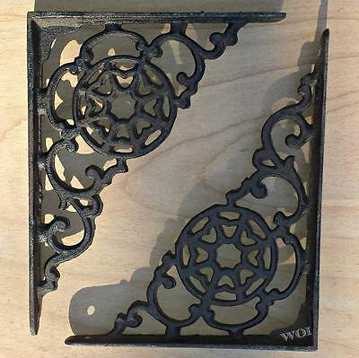 2 Rustic Angle Iron Mounting Brackets Shelving Brace Shelf Support Distressed