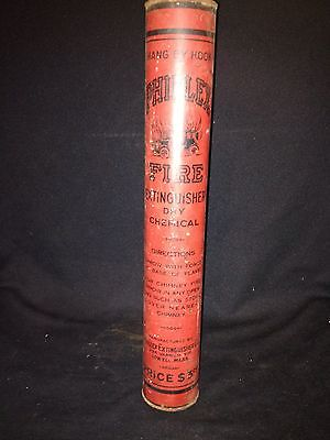 "Early 15 3/4"" Phillex Dry Chemical Fire Extinguisher Lowell Ma"