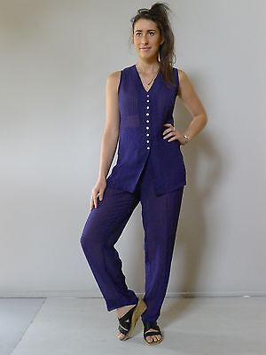 vintage retro 90s unused 12 14 M purple suit top shorts pants Table Eight as new