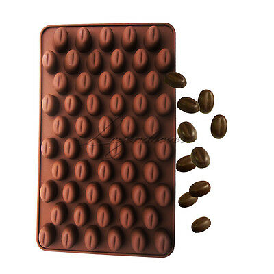 UK 55 Coffee Beans DIY Silicone Chocolate Cake Candy Soap Baking Mold Moulds