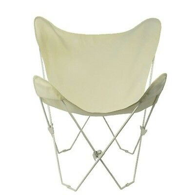 Butterfly Chair & Cover Combination w/White Frame Natural Cotton Duck Fabric NEW