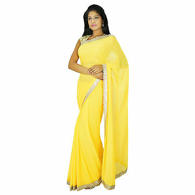 Party Wear Sari Indian Ethnic Designer Yellow Bollywood Wedding Saree Dress