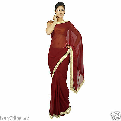 Indian Designer Georgette Saree Ethnic Party Wear Sari Bollywood Wedding Dress