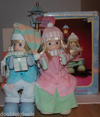 "1994 - 21"" Precious Moments Holiday Action Animated Figurine Set Lamp By Enesco"