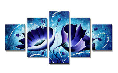 Bild 5 tlg blue flowers art on canvas 160x80cm XXL Bilder Nr 5536)  Visario