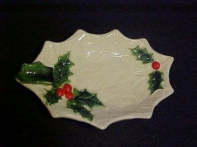 Vintage Lefton Holly & Berries Lemon Dish or Small Candy Dish