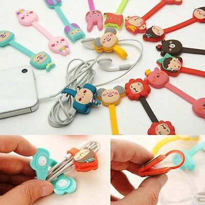 Animal Cartoon Earphone Wire Winder Thread Wrap Cable Cord Organizer Holder Clip