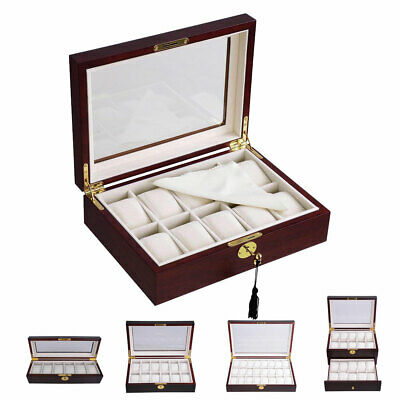 6/10/12/20/24 Wood Watch Display Case Glass Top Jewelry Storage Organizer Gifts