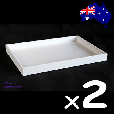 PREMIUM 2X Jewellery Tray-Flat-Padded-FULL White Leatherette | AUSSIE Seller