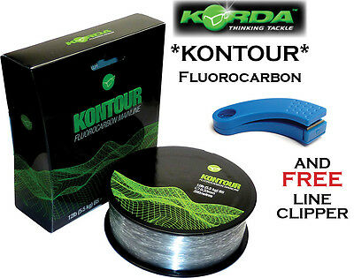Korda KONTOUR 12lbx200m FLUOROCARBON + FREE CLIPPER!! for Carp Fishing (KFC12)