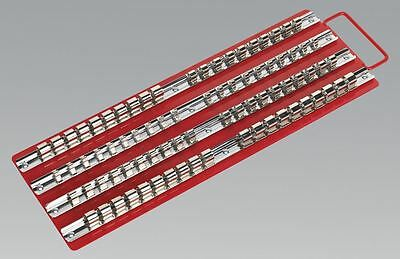"Sealey AK271 Socket Rail Tray Red 1/4"", 3/8"" & 1/2""Sq Drive"